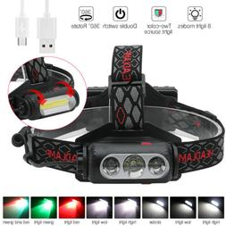 USB Rechargeable Headlamp White/Red/Green Light 3XLED Huntin