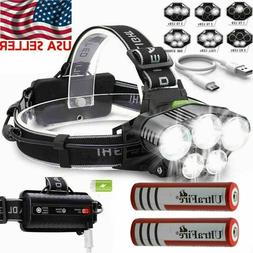 USB Rechargeable LED Headlamp Flashlight Headlight Head Torc