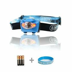 Vitchelo V800 Headlamp Flashlight with Red LED, Blue