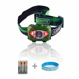 Vitchelo V800 Headlamp Flashlight with Red LED, Green