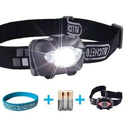 VITCHELO V800 Headlamp with White and Red LED Lights. Super