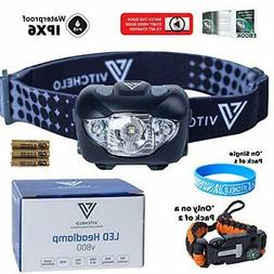 VITCHELO V800 Headlamp Flashlight w/h White and Red LED Ligh
