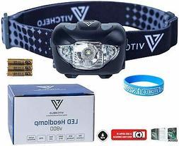 VITCHELO V800 Headlamp Flashlight with White and Red LED Lig