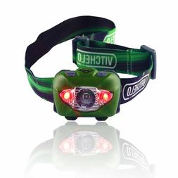 VITCHELO V800 Headlamp with White and Red LED Lights. Waterp