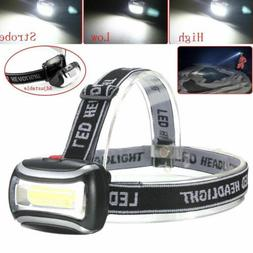 Waterproof COB LED Headlamp Head Light Flashlight Working La
