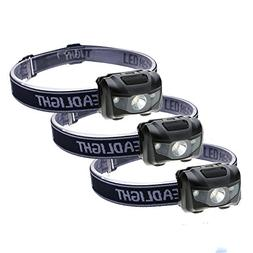 3-Pack Waterproof LED Headlamp , 4 Light Modes Lightweight H
