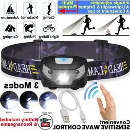 Waterproof Headlamp Head Torch Headlight LED Rechargeable Fl