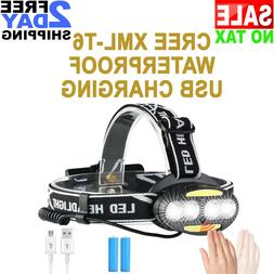 Waterproof USB Rechargeable LED Headlight Headlamp Head Lamp