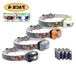 Pack 4.SUNYANG Waterproof White+Red Light Headlamp,4 Brightn