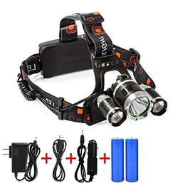 1 Pack 8000 Lumen 20W XM-L T6 LEDs Headlamps Ultra Xtreme Wa