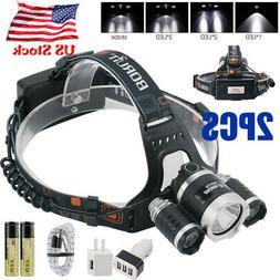 30000lm 3X XM-L T6 LED Rechargeable Headlamp+18650 Battery&