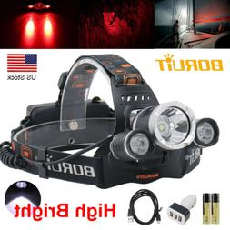 BORUiT 13000LM XM-L2 LED Headlamp Zoom Camping Headlight Hea