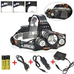 Boruit 3x XM-L2 T6 LED Beads 5000 Lumens Headlamp 4 Modes wi