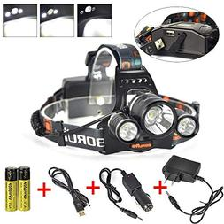 Boruit Newest!! 3X XM-L2 T6 LED Beads 15000 Lumens Headlamp
