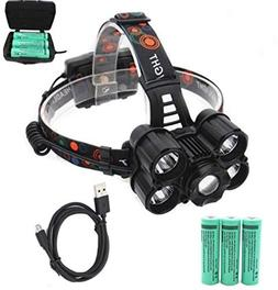 1 Pack 25000 Lumen 50W XM-T6 LEDs Headlamps w/USB Cable Ultr