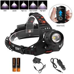Boruit LED Zoomable Headlamp Flashlight,5 Modes High Lumen I