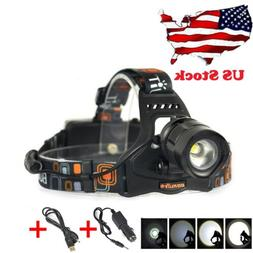 BORUiT Hunting HEADLIGHT 15500 Lumen CREE LED HEADLAMP 2X 18650 Battery Charger