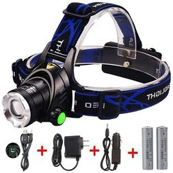 GRDE Zoomable 3 Modes Super Bright LED Headlamp with Recharg